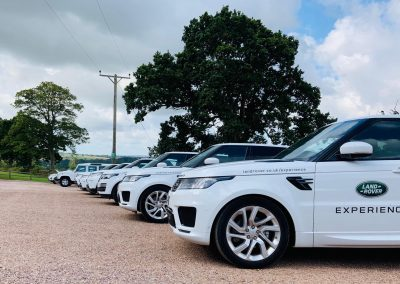 Row of Land Rovers